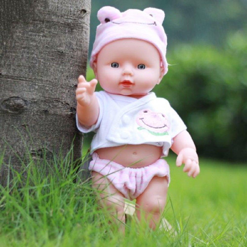 CARESHINE Reborn Baby Doll, 12'' Soft Vinyl Silicone Lifelike Sound Laugh Cry Newborn Baby Toy Boys Girls Birthday Gift (Pink)