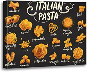 TORASS Canvas Wall Art Print Cuisine Pasta Food Drawing Gourmet Spaghetti Artwork for Home Decor 12