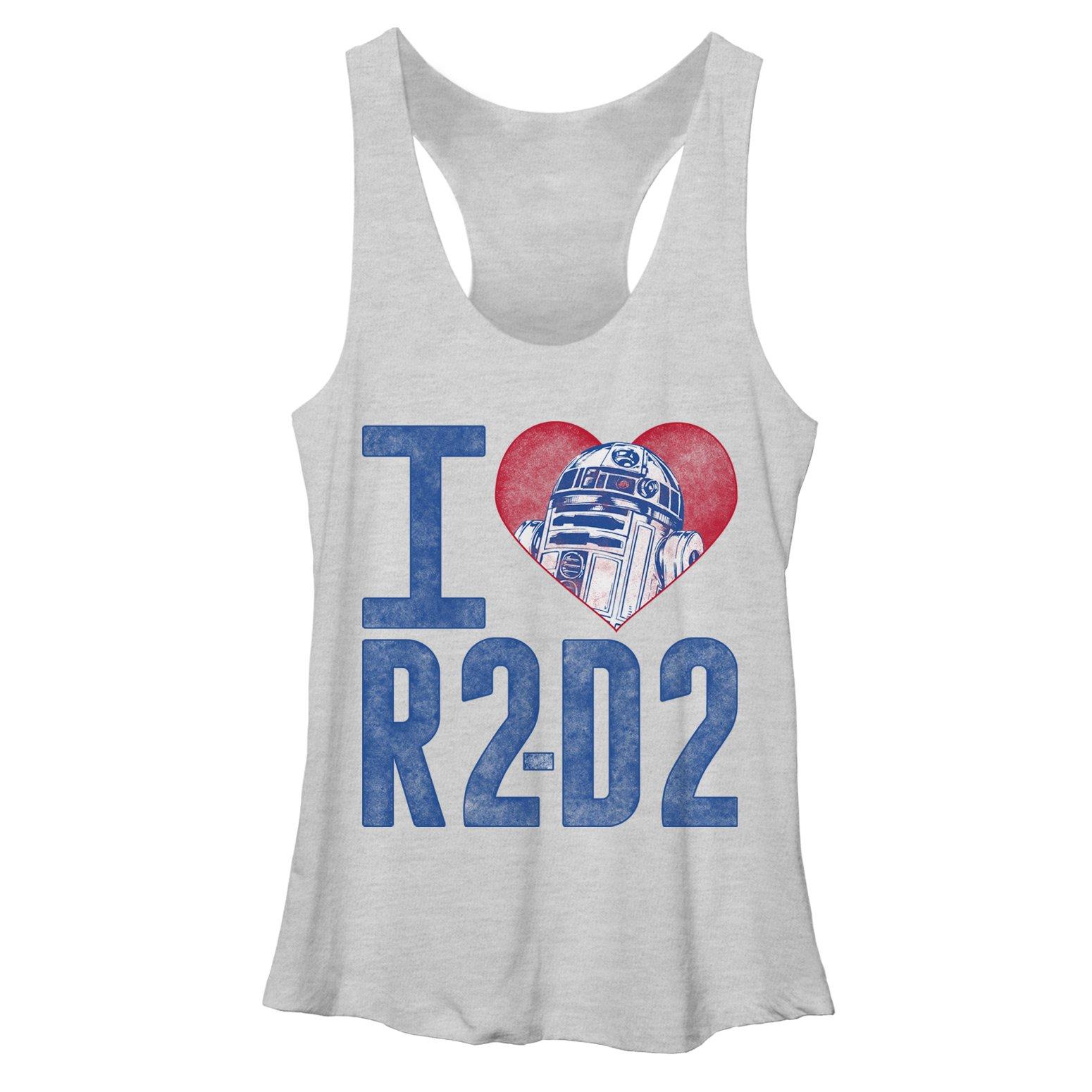 Star Wars Women's I Love R2D2 White Heather Racerback Tank Top