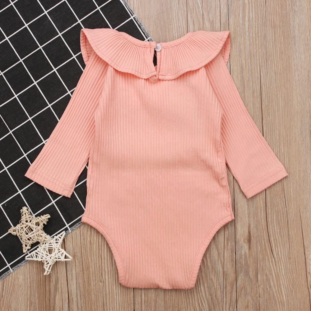 Kehen Infant Newborn Baby Girl Spring Clothes Solid Long Sleeve Ruffle Romper Cotton Bodysuit Jumpsuit Fall Sweatshirt