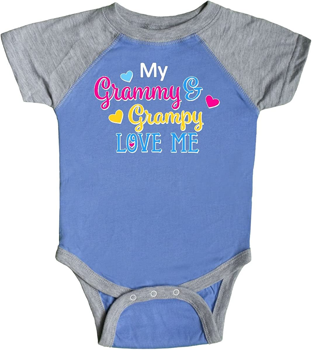 inktastic My Grammy and Grampy Love Me with Hearts Newborn Layette
