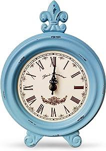 MAGCOLOR Vintage Desk Clock ?Table Clock on Stand?Rustic Mantel Clocks for Living Room Decor (Blue)