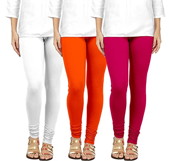 1543e9664799d2 Tapestry Lovers Soft Cotton Ladies/Women/Girls Lycra Churidar Stretchable  Yoga, Sports, Leggings, in White, Orange and Pink Size, L Combo Pack of 3:  ...