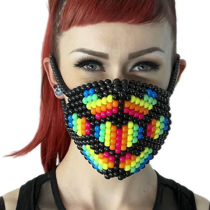 Mascara Kandi de Corazon de Tela de Araña de Arcoiris por Kandi Gear, mascara de
