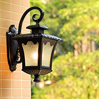 YU-K Lámparas de pared antiguas lámparas de pared para patio jardín vallado luz impermeable & YU-K Lámparas de pared antiguas lámparas de pared para patio jardín ...