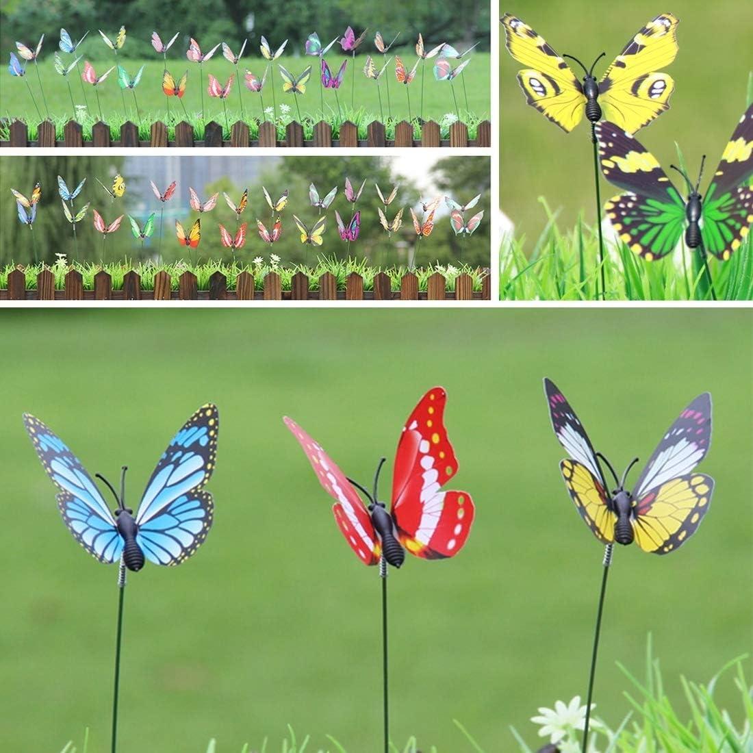 Herramientas de jardinería 50PCS Mariposas de colores Adorno de jardín Maceta Planta Decoración Mariposa Paleta Jardín Decoración Simulación Mariposa Entrega de color al azar: Amazon.es: Jardín