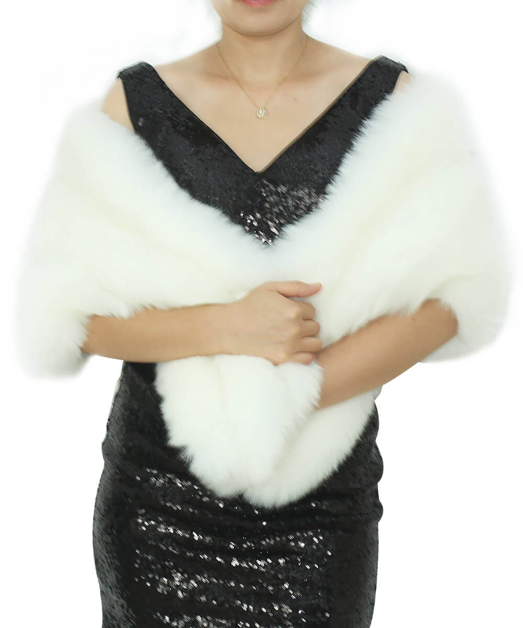 Dressblee Faux Fur Wrap Shawl Shrug Bolero Cape With side pockets, Bridal Faux Fur Jacket coat shawls -white