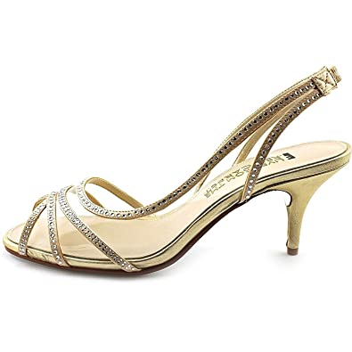 E Live From The Red Carpet Womens Inez Open Toe Ankle Strap Gold Size 6.5
