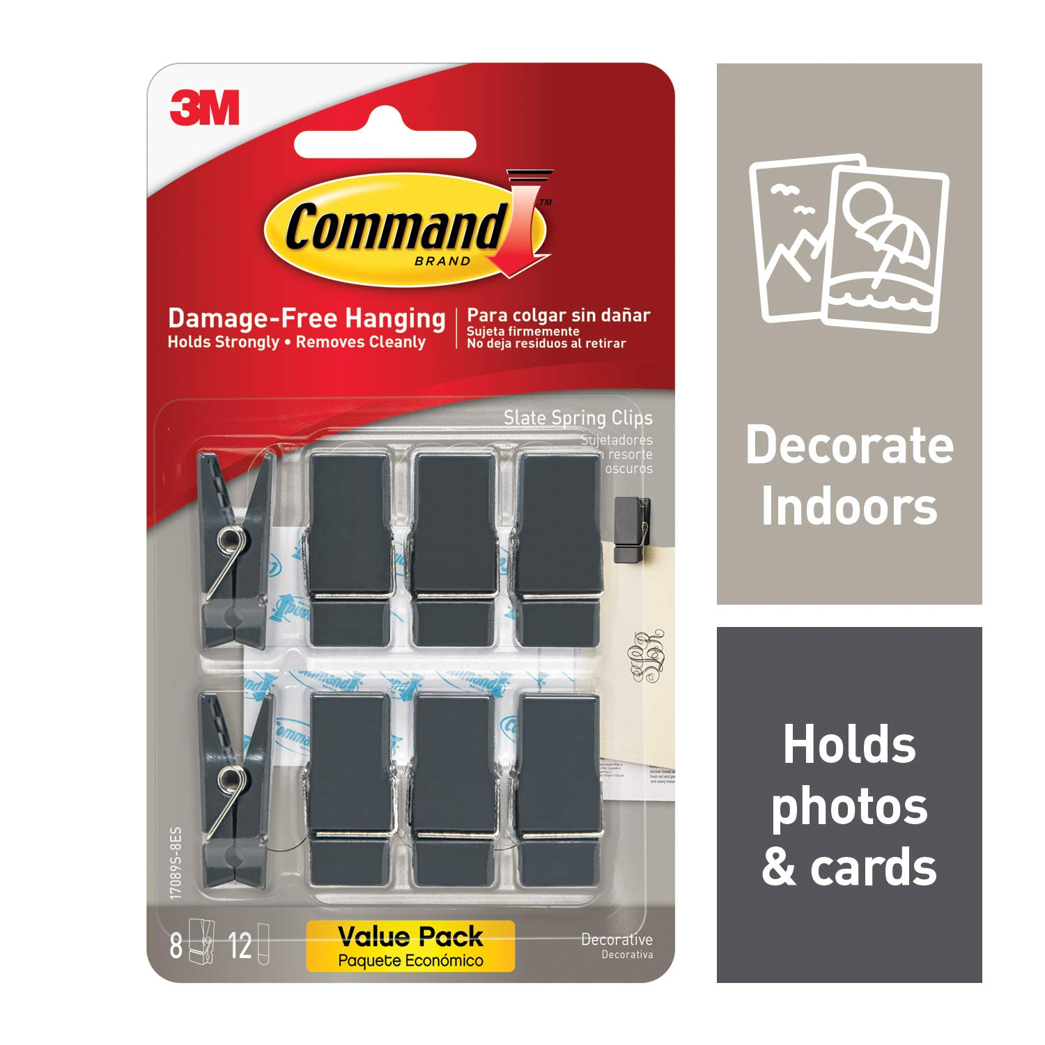 Command Spring Clips, Slate, 8-Clips (17089S-8ES)