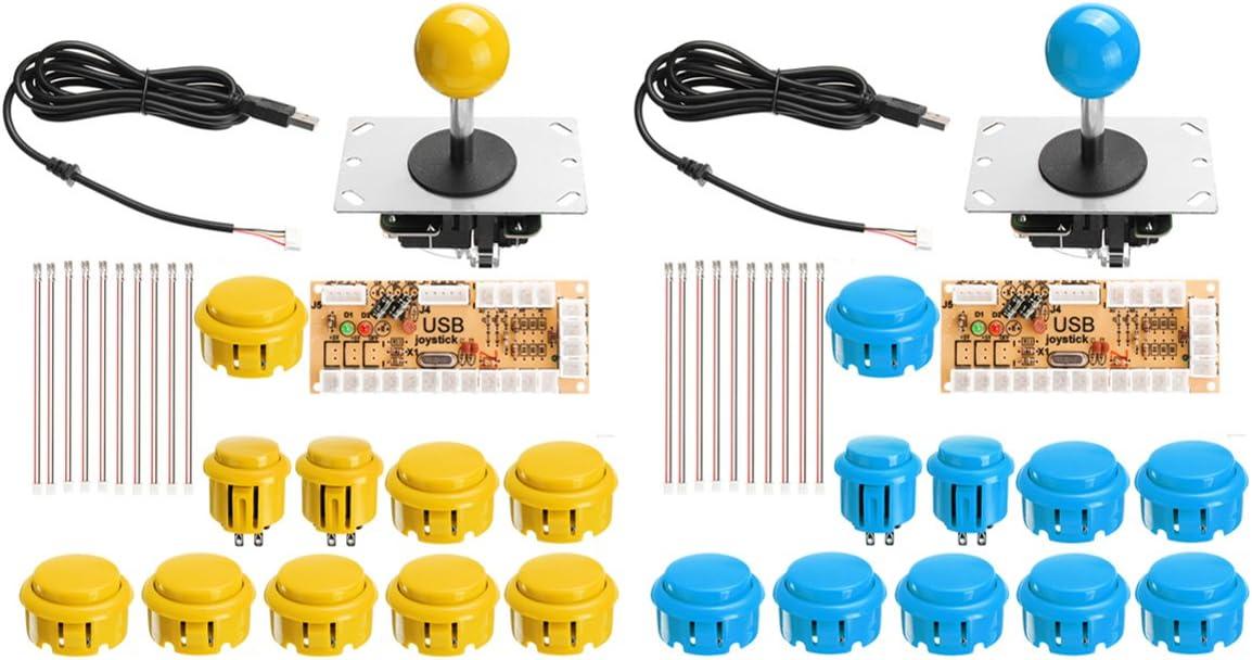 GOZAR Azul Amarillo Doble Arcade Jostick Juego Controlador DIY Kit para Pc Juego