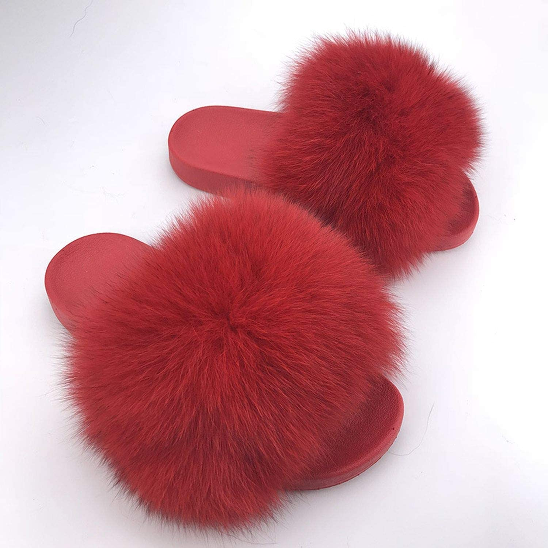 2019 Big Full Fur Slippers Real Fox Hair Slides Beach Slides Holiday Fox Fur Slides for Women,See 7.5