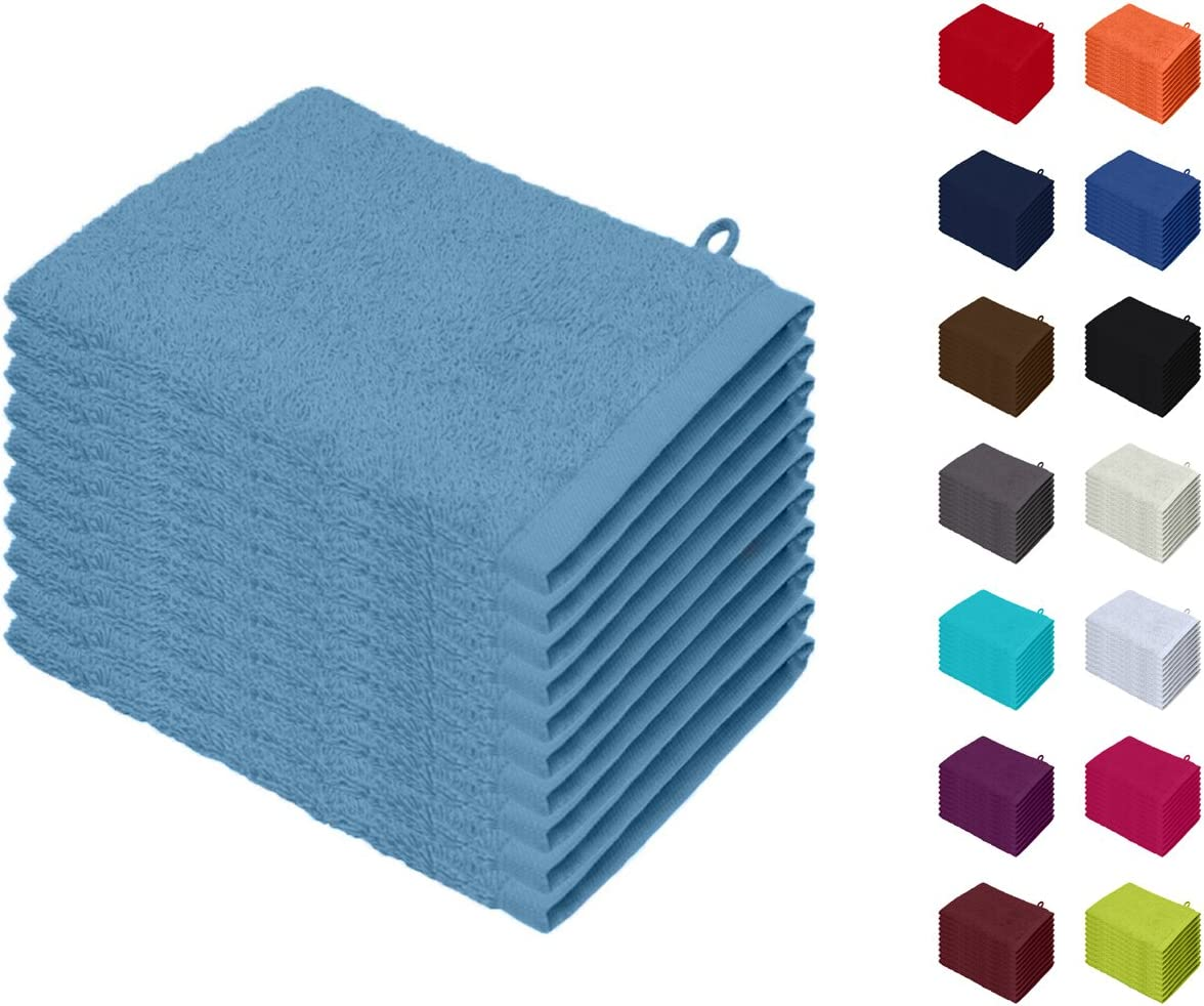10er Pack Waschhandschuhe Waschlappen Gr/ö/ße 15x21 cm in Bordeaux 100/% Baumwolle