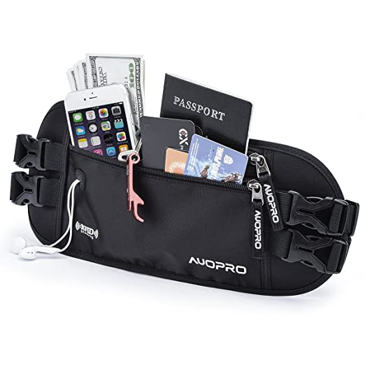 Hot Money Belt Secret Money Hidden Cash Travel Discreet Safe Slim Anti-theft Black Waist Pouch Men Women Belt Apparel Accessories