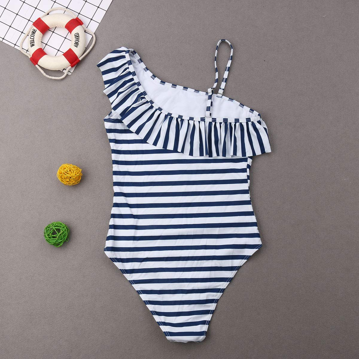 Striped Print Family Swimwear Mommy Daughter Outfits Juniors One Piece Swimsuit