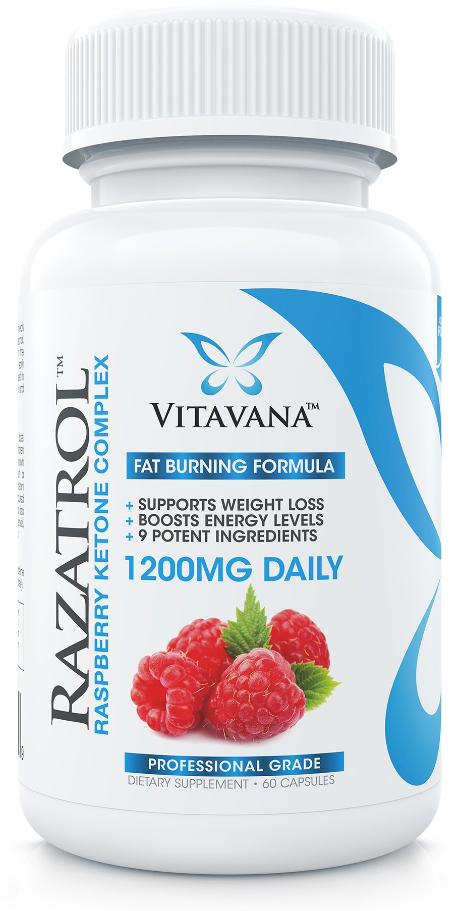 Razatrol Raspberry Ketones Diet Pills with Green Tea Extract, African Mango, Apple Cider Vinegar, Kelp, Acai Berry, Resveratrol, Grapefruit and Caffeine Anhydrous (6-Bottles)