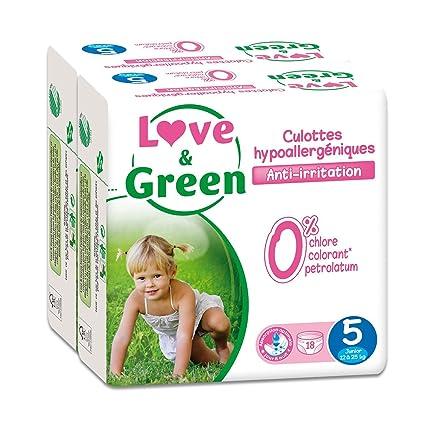 Love & Green - Paquete de 18 pañales hipoalergénicos (talla 5, lote de 2