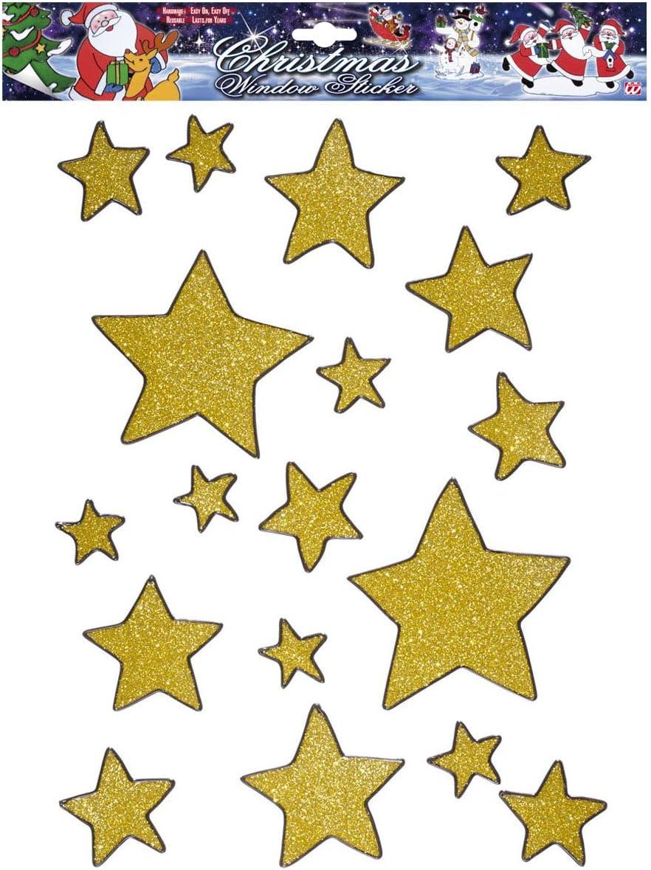 Widmann 1198/G/?/vetrofanie Sticker Autocollants 18/pi/èces /étoiles dor/ées avec paillettes
