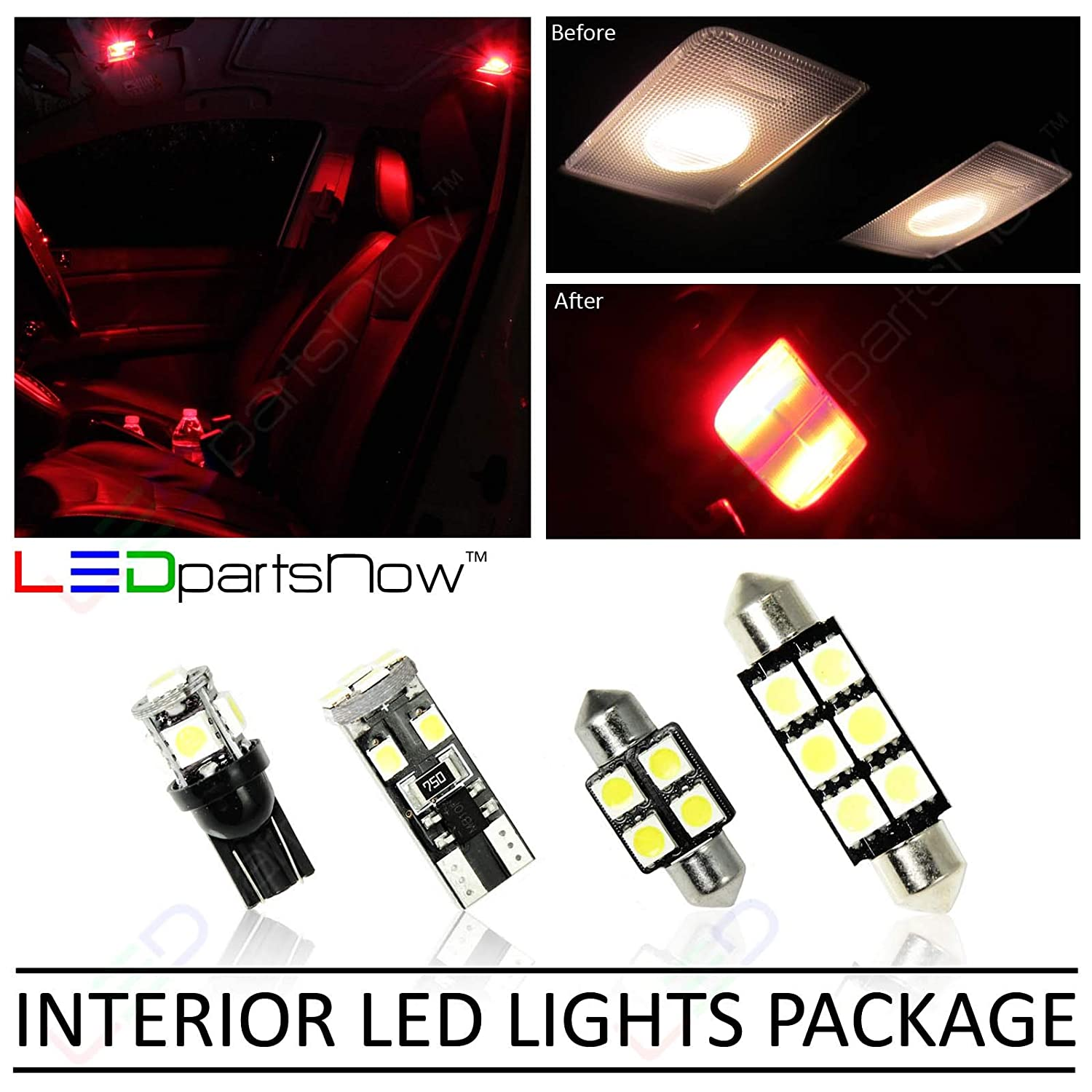 Ledpartsnow Interior Led Lights Replacement For 2011 2014 Dodge Charger Accessories Package Kit 16 Bulbs Red