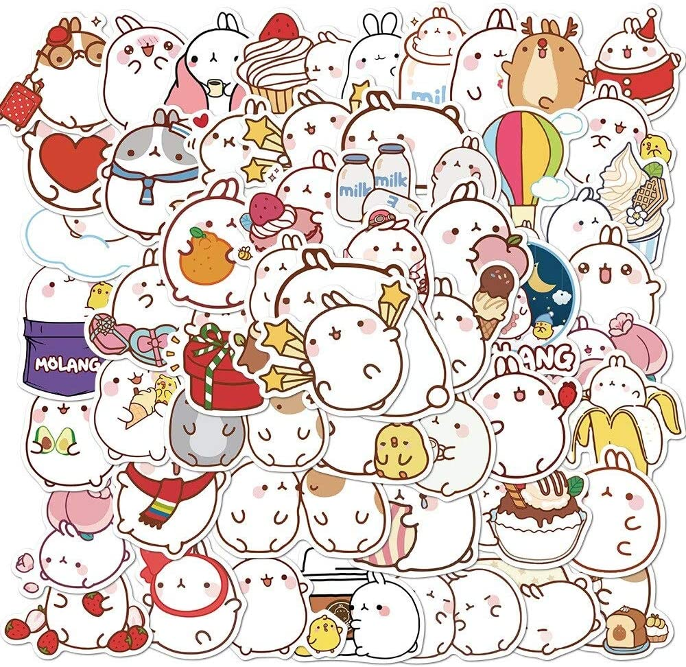 50PCS Kawaii Cartoon Chubby Rabbit Molang Stickers Decal for Girl DIY Stationery Guitar Laptop Skateboard Lovely Anime Sticker