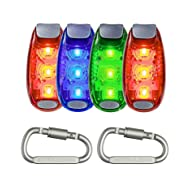 Seakcoik 4-Pack LED Safety Light Strobe Lights for Running Walking Bicycle Dog Pet Runner, Best Flashing Warning Clip on Small Reflective Set Flash Walk Night High Visibility + Free Bonuses
