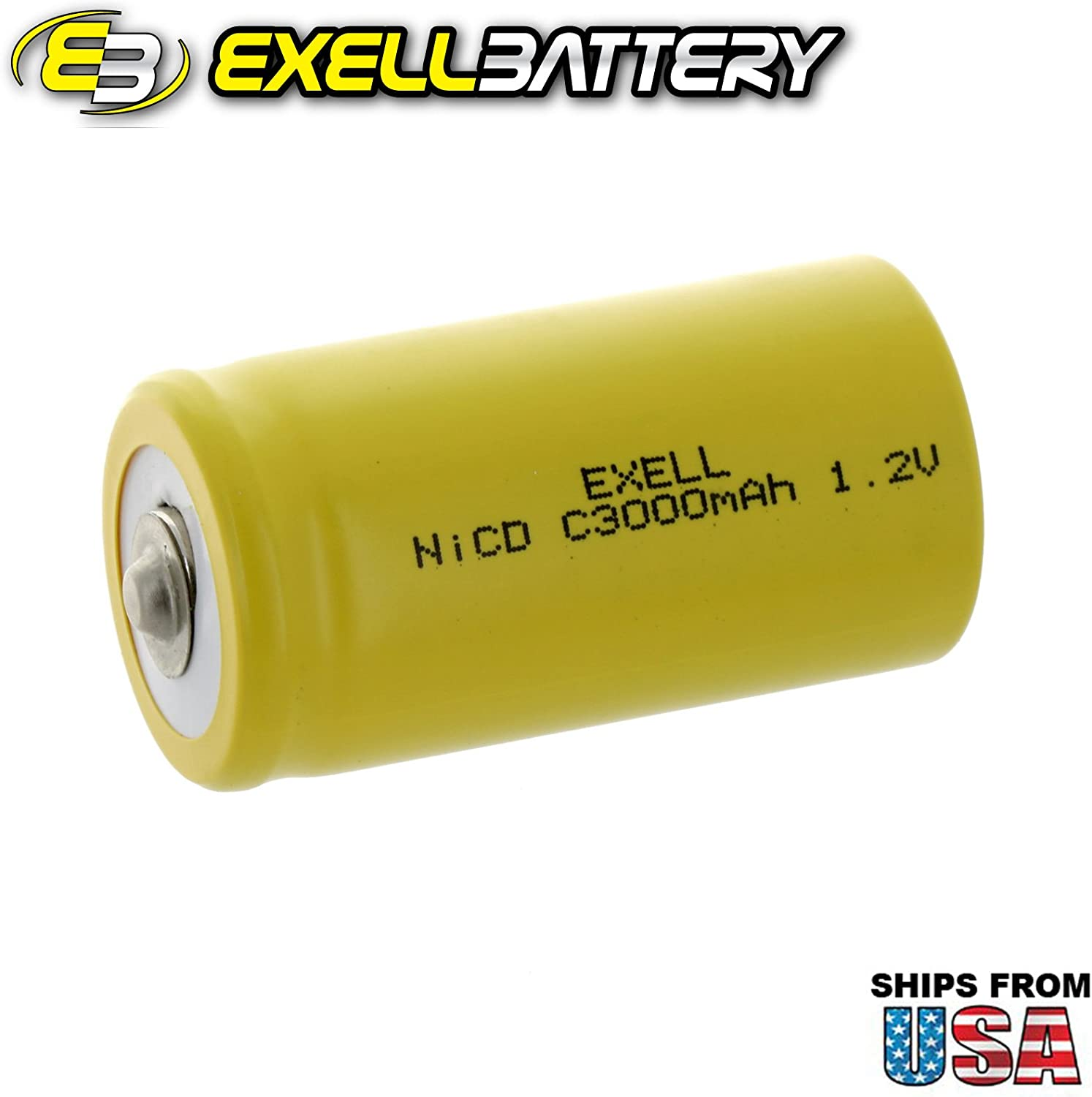 Exell C Size 1.2V 3000mAh NiCD Button Top Rechargeable Batteries for high power static applications RC devices 2-PACK electric mopeds electric tools Telecoms, UPS and Smart grid meters radios