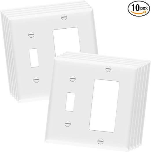 Enerlites Combination Toggle Light Switch Decorator Switch Wall Plate Size 2 Gang 4 50 X 4 57 Polycarbonate Thermoplastic 881131 W 10pcs White 10 Pack Amazon Com