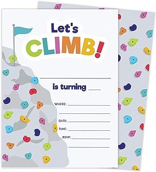 Tarjetas de invitación de cumpleaños con diseño de escalada ...