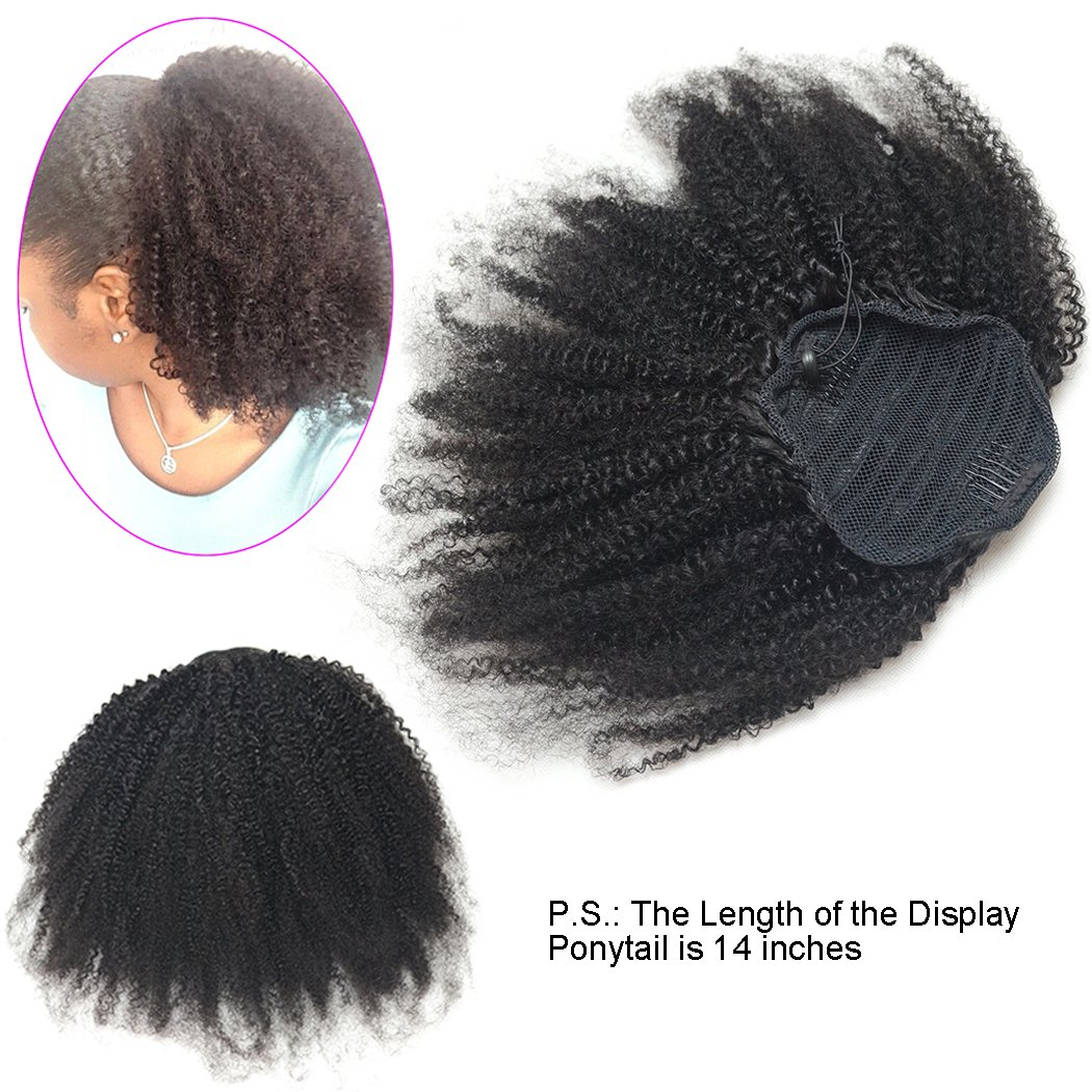 Luwigs Afro Kinky Curly 4B 4C Clip-in Top Closure Ponytail African American Human Virgin Hair Extension Drawstring Puff Ponytail Hairpiece Natural Color (16 inches, Afro Kinky Curly 4B 4C)