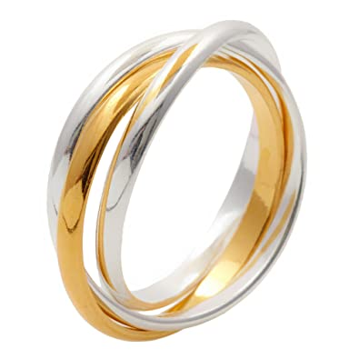Silverly Women's Gold Plated .925 Sterling Silver Rose Yellow Russian Triple Ring Bu55zJY