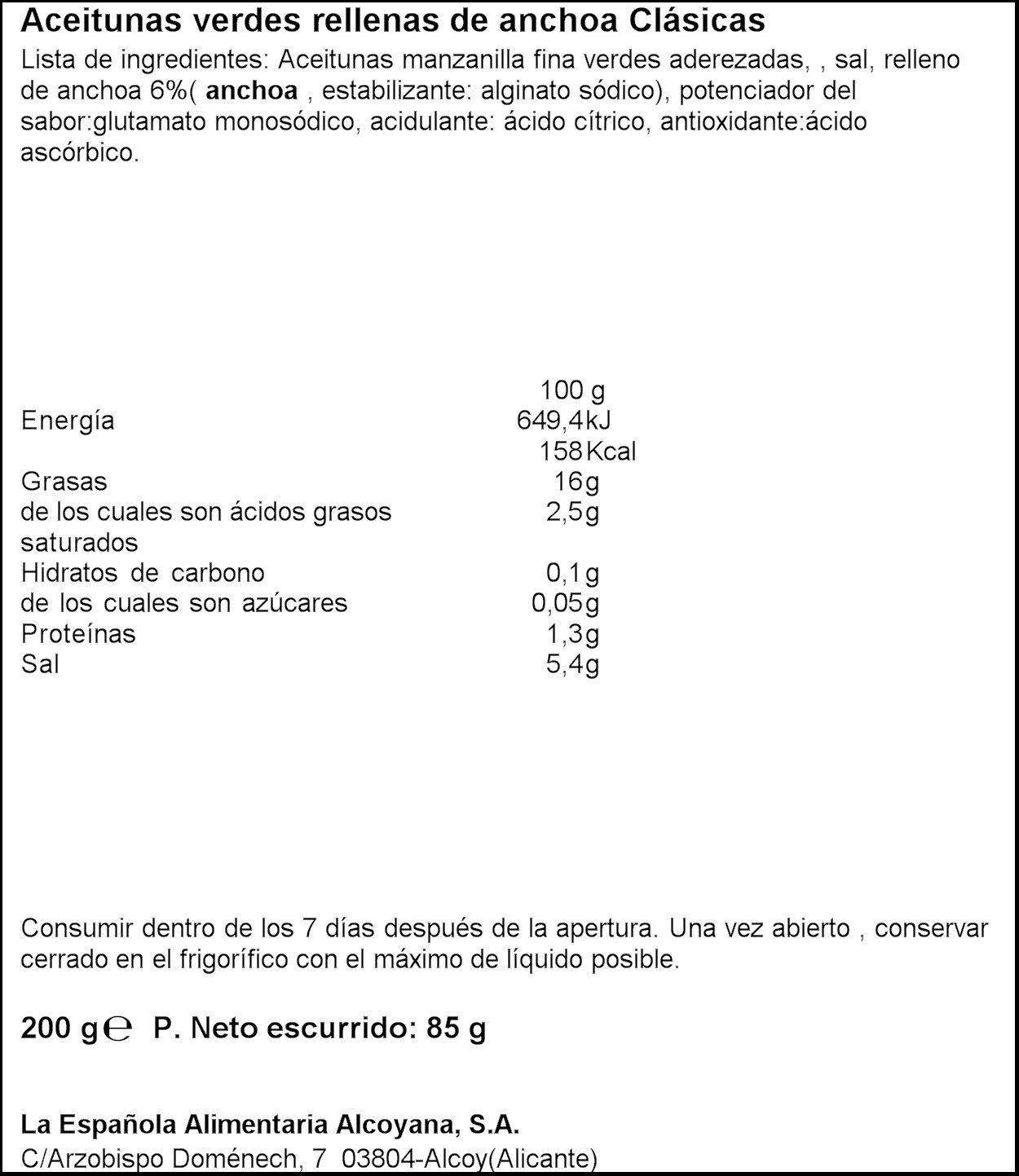 La Española Aceitunas Verdes Rellenas de Anchoa Clásicas - 200 g: Amazon.es: Amazon Pantry