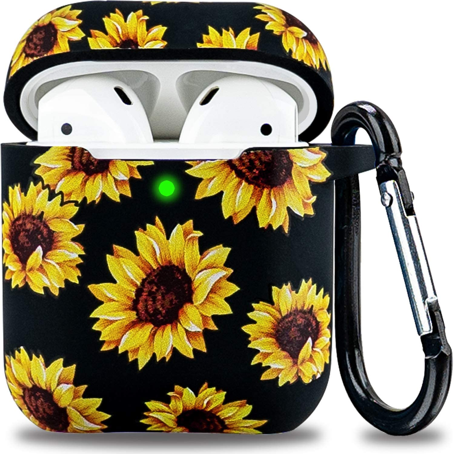 Airpod Case Soft Silicone Flower LitoDream Airpods Case Cover Girls Women Protective Flexible Skin with Keychain for Apple AirPods 2&1 Charging Case - Black/Sunflower
