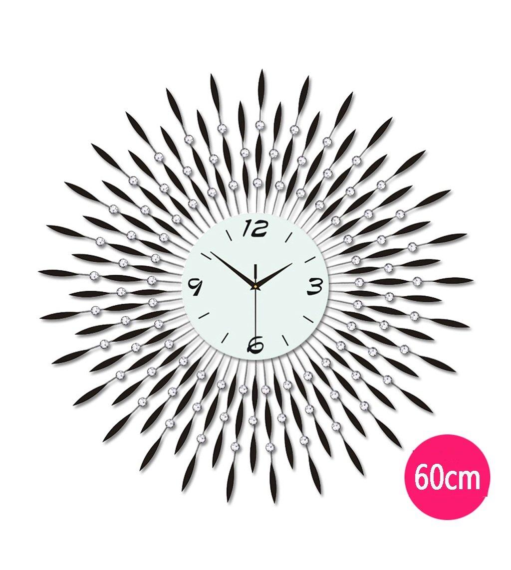ZHENAI リビングルームの壁時計クリエイティブな性格の腕時計現代的なヨーロッパの静かなクォーツクロック掛けテーブル60cm / 70cm大きな壁時計 ( 色 : ブラック , サイズ さいず : 60 cm 60 cm ) B07BN7TQ4P 60 cm 60 cm|ブラック ブラック 60 cm 60 cm