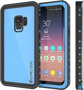 PunkCase Galaxy S9 Waterproof Case, [Studstar Series] [Slim Fit] [Ip68 Certified] [Shockproof] [Dirtproof] [Snowproof] Armor Cover for Samsung Galaxy S9 [Light Blue]