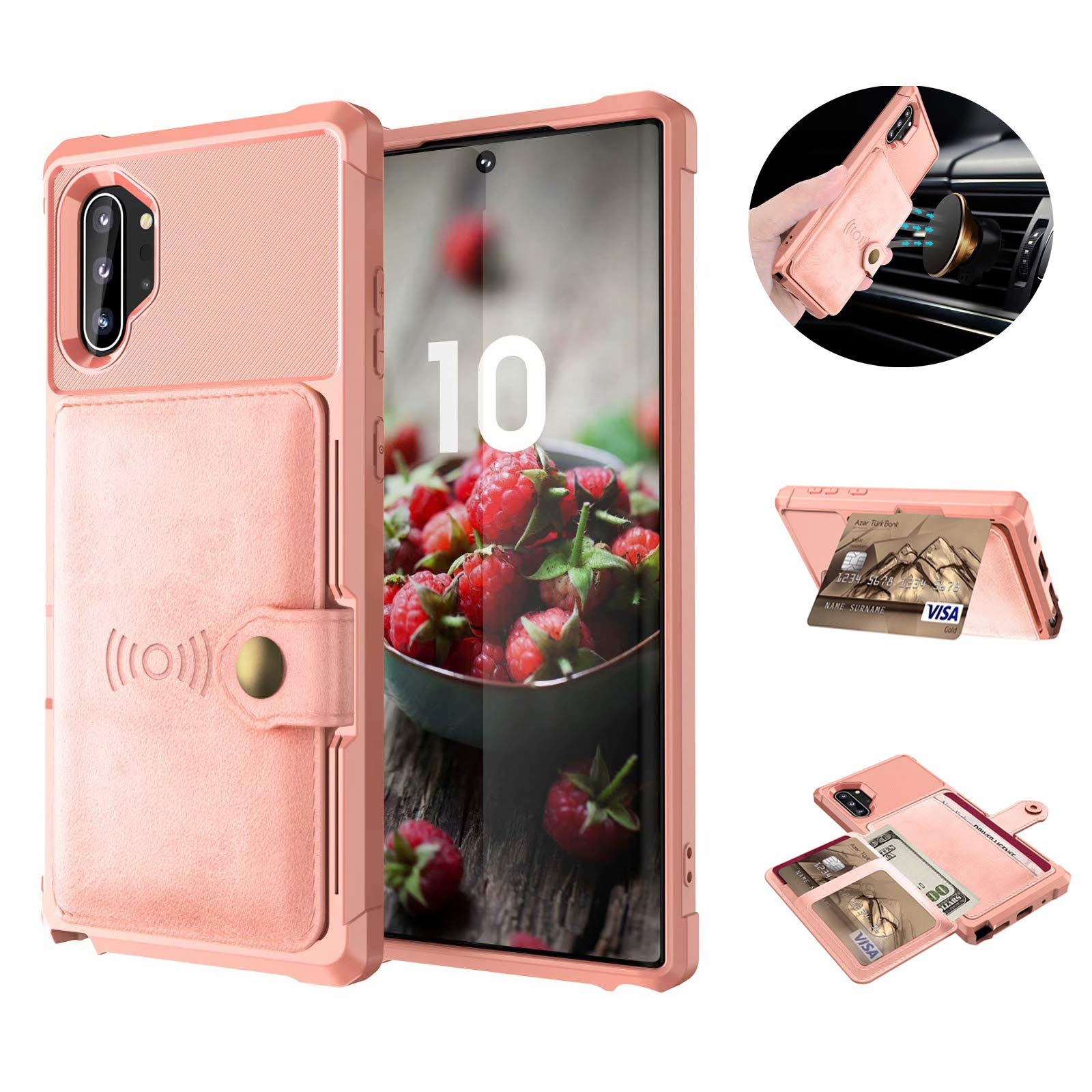 Tznzxm Galaxy Note 10 Plus Wireless Charging Case Credit Card Kickstand Rubber Buttons [Work with Magnetic Car Mount] Durable Flip Shockproof Protective Cover for Samsung Galaxy Note 10 Plus Pink by Tznzxm