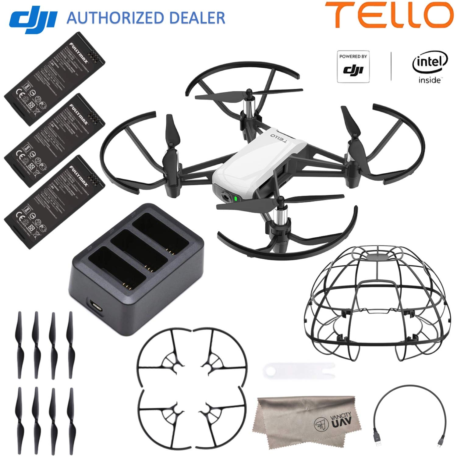 DJI Tello Quadcopter Drone Boost Combo with HD Camera and VR, Comes 3 Batteries, Protective Cage, 8 Propellers, Powered by DJI Technology and Intel 14-Core Processor, Coding Education, Throw and Go