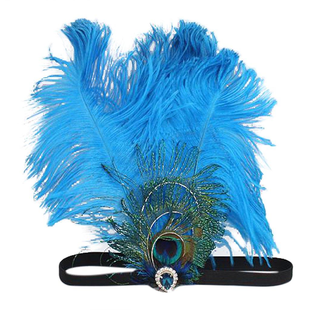 Generic Pfaufeder Fascinator, mit Stirnband, Kopfstück, Cocktail Zubehör, Brautschmuck Kopfstück Cocktail Zubehör Brautschmuck - Blau