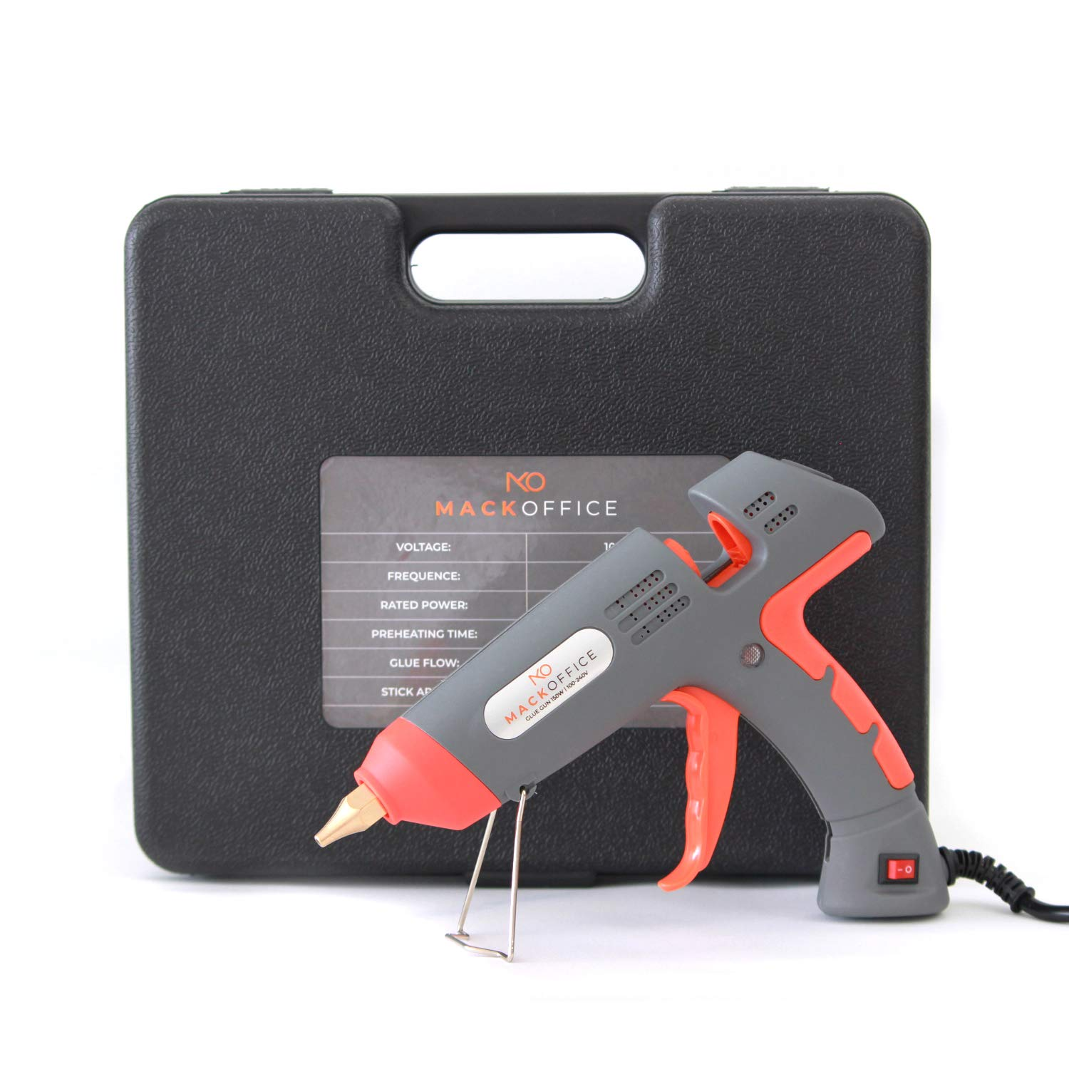 MackOffice Industrial Hot Melt Glue Gun, Profesional Glue Gun 150W, heavy Duty, High Power, Fast Heat with Portable Case, DIY Craft and Quick Repairs Ceramic, Wood, Glass, Toys, Carpet, Cars and more by Mackoffice