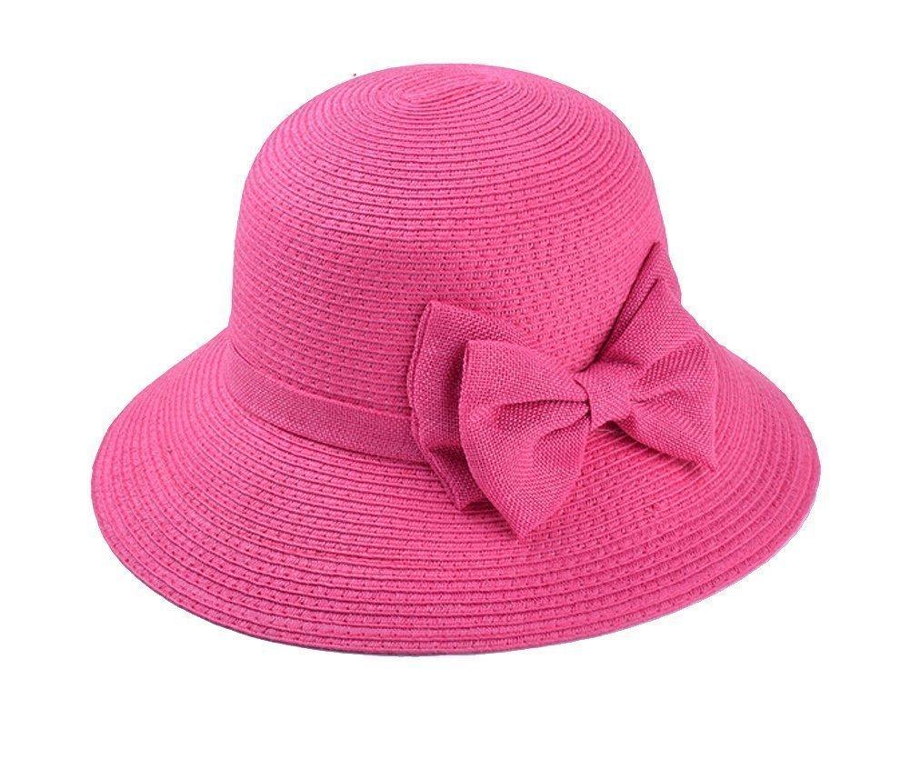 TININNA Donne elegante signore di Bowknot Floppy Cappello di paglia cappello spiaggia di estate del cappello di visiera Beige