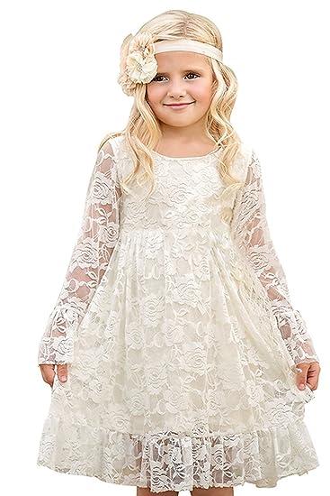 7b5043d09 Amazon.com  Lilis Girls Princess Lace Dress Flower Girl Long Sleeves ...