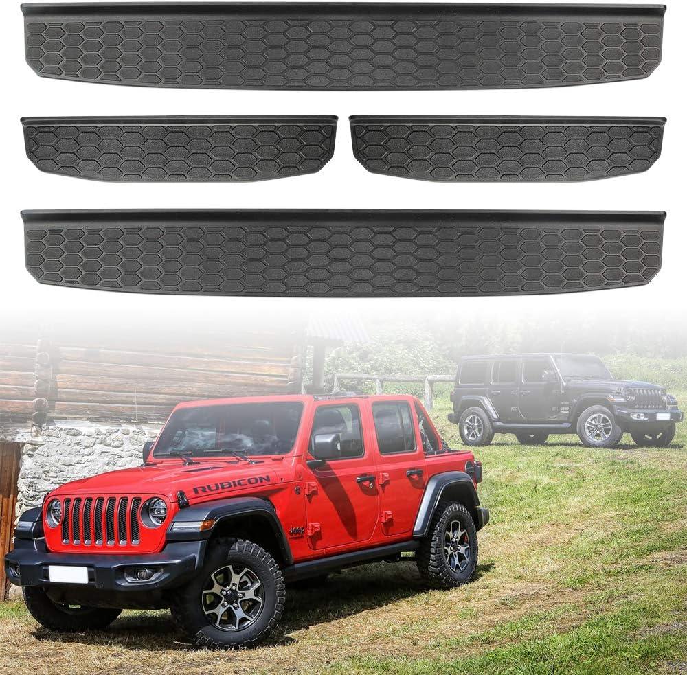 2020 Jeep Wrangler JL JLU /& 2020 Jeep Gladiator JT,Exterior Accessories 2019 4-Door Black Entry Guards Black MEEFAR Door Sill Guards for 2018