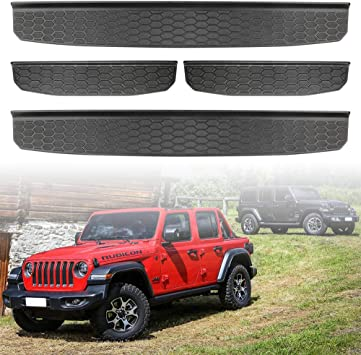 4pcs//Set Exterior Accessories CheroCar Door Sill Guards Entry Scuff Plate Cover for 2018-2021 Jeep Wrangler JL JLU /& 2020-2021