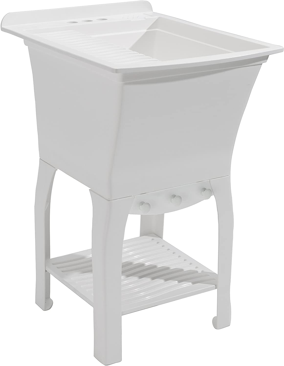 Whitehaus WHQDB332-WH Farmhaus Quatro Alcove 33-Inch Reversible Double Bowl Fireclay Sink with Fluted Front Apron, White