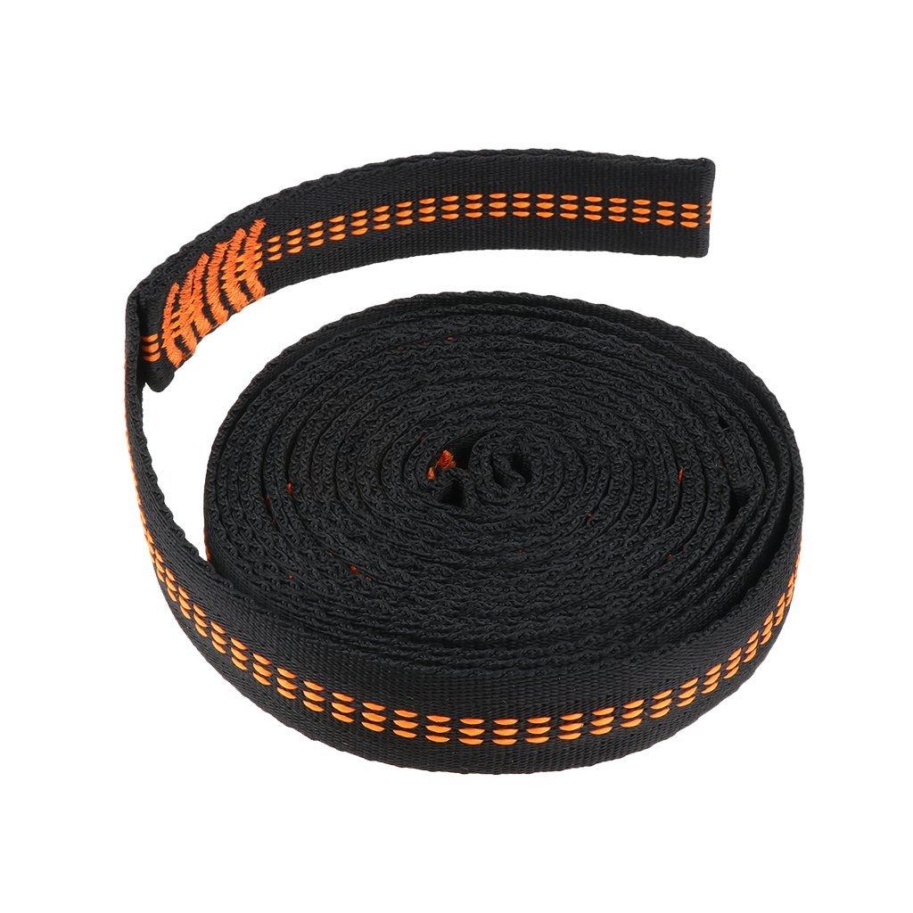 Homyl 110 inch Long 18 Loops High Strength Heavy Duty Lightweight Easy Setup Hammock Strap Fits Most Hammocks - orange arc-shaped
