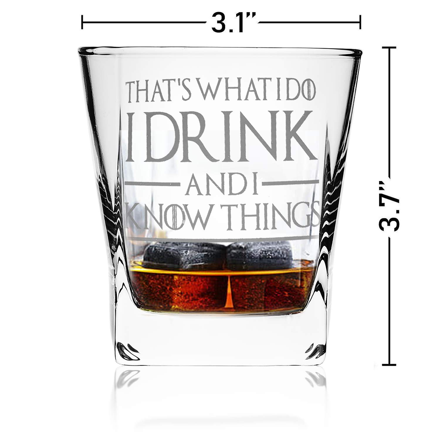 Thats What I Do I Drink and I Know Things, Premium Game of Thrones Whiskey Glass, 10.6OZ Whiskey Glass with 2 Whiskey Stones, Great Gift for Game Of Thrones Fans by DINCR by DINCR (Image #2)
