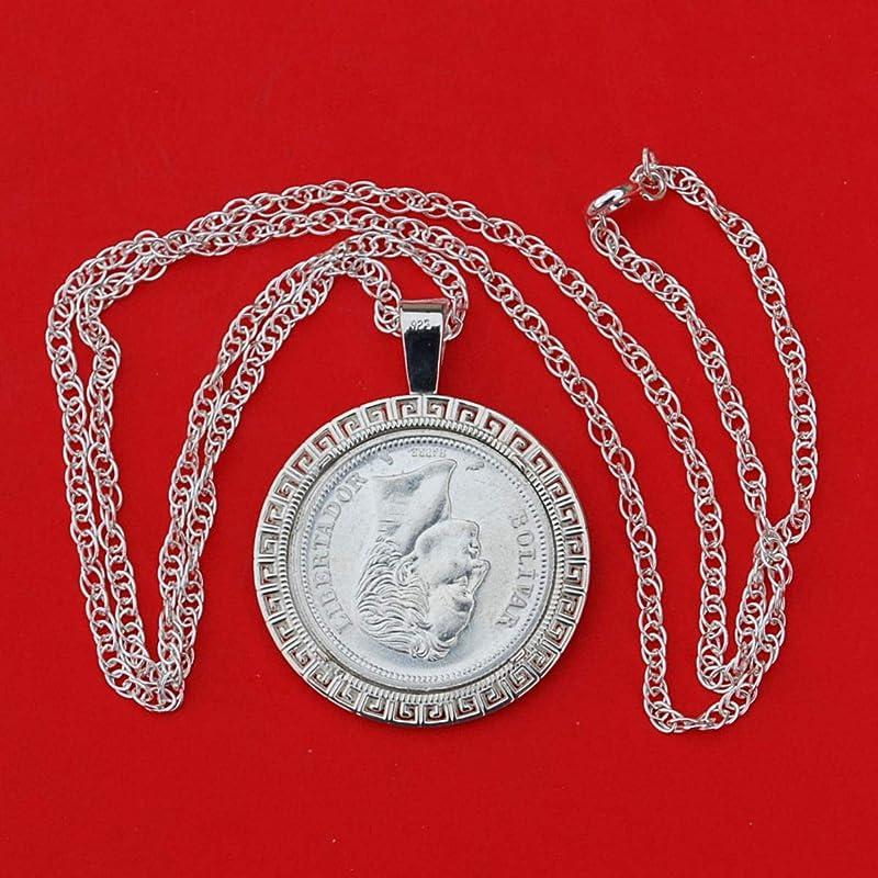 Head of Bolivar 1960 Venezuela 50 Centimos 0.835 Silver BU Unc Coin Soild 925 Sterling Silver Necklace