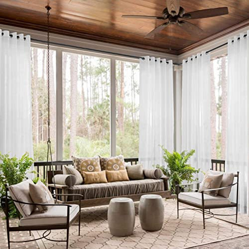 TWOPAGES 150 W X 96 L Wide Sheer Curtain Grommet Top Sheer Curtain White Tulle semi Sheer Drapes 1 Panel