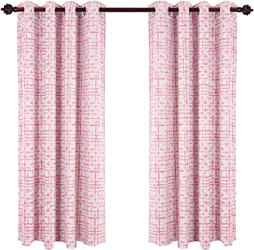 Deconovo Solid Square Print Curtains Thermal Insulated Blackout Drapes for Girls Room, 52W x 84L Inch, Pink
