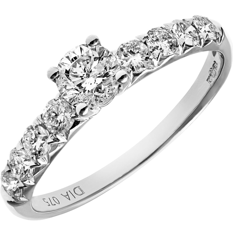 Naava 18ct White Gold Shoulder Set Engagement Ring IJ I Certified