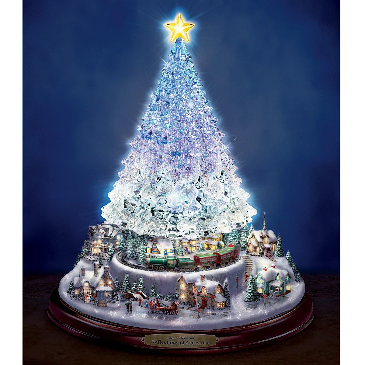 Kinkade christmas ornaments - Amazon Com Thomas Kinkade Crystal Tabletop Christmas Tree Lights Motion And Music By The Bradford Exchange Home Kitchen