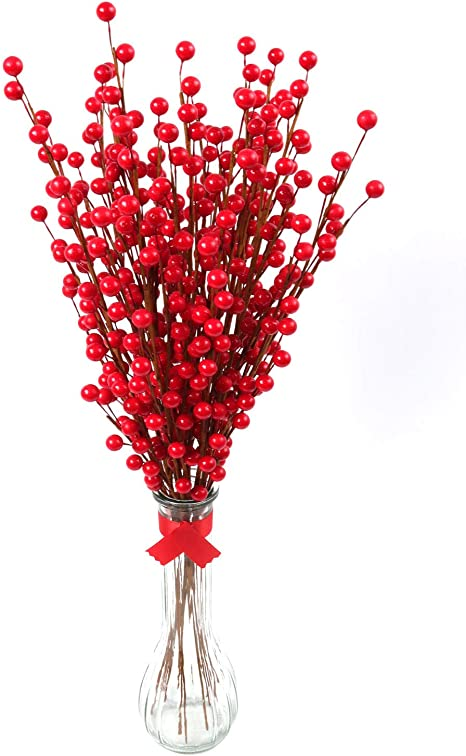 24 Artificial Red Berry Twigs Craft Sprays For Floral Arrangements 19 Berry Spray Stems W 35 Red Berries Each Pack Of 24 Branches Decorative Arrangements Centerpieces Amazon Ca Home Kitchen